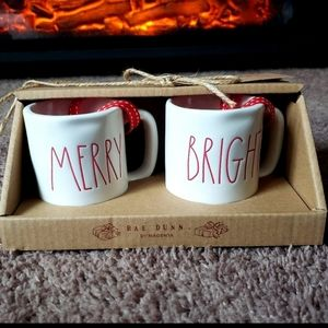 Rae Dunn 'Merry and Bright' Ornament Set